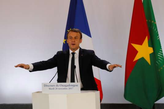 French President Emmanuel Macron delivers a speech at the Ouagadougou University
